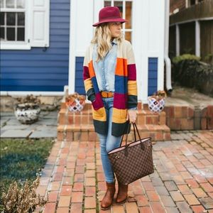 Sweaters - Color blocked cardigan